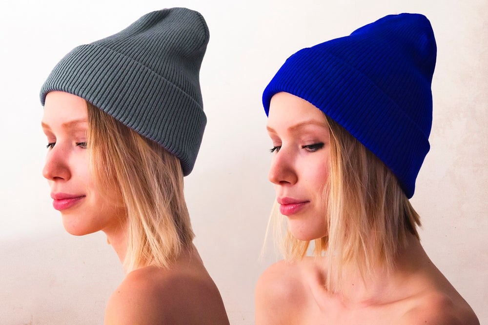 Image of Gray | Neon Blue Beanie
