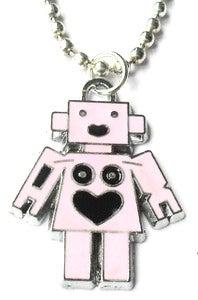 Image of Pink Enamel Robot Charm Necklace