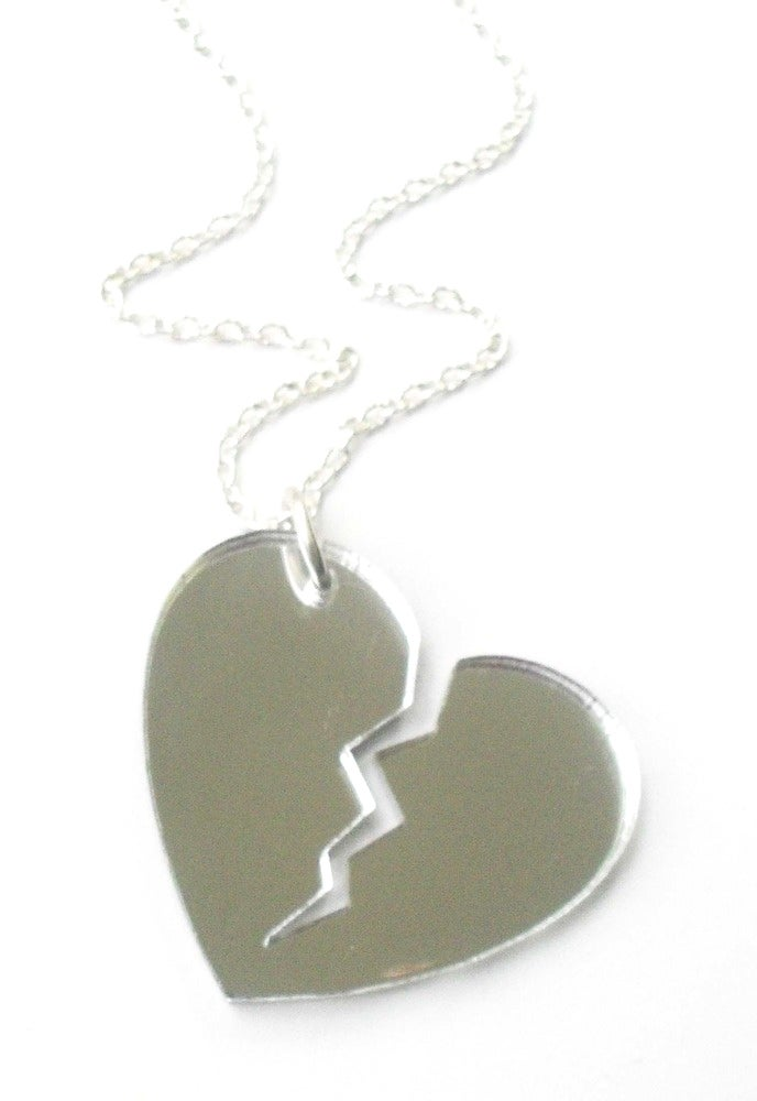 Image of Kool Jewels Mirrored Broken Heart Necklace