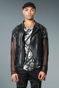 Image of Biker Jacket Black Leather & Mesh