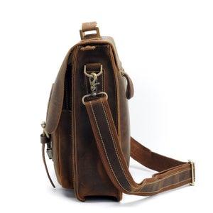 """Image of Men's Handmade Vintage Leather Briefcase / Messenger / 13"""" 15"""" MacBook 14"""" 15"""" Laptop Bag (n67-4)"""