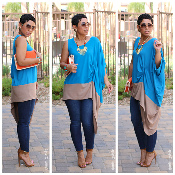 Image of Side Draped Color Block Top