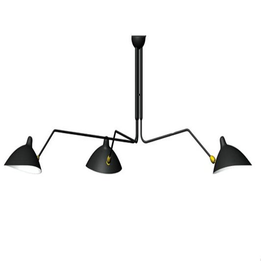 serge mouille style 3 arm ceiling lamp plafonnier 3 bras. Black Bedroom Furniture Sets. Home Design Ideas