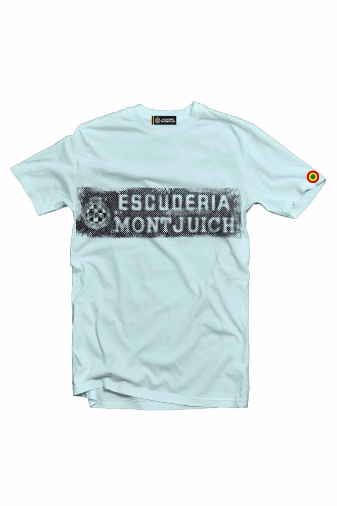 "Image of ESCUDERIA MONTJUICH TSHIRT ""WASTED STICKER BLUE"""