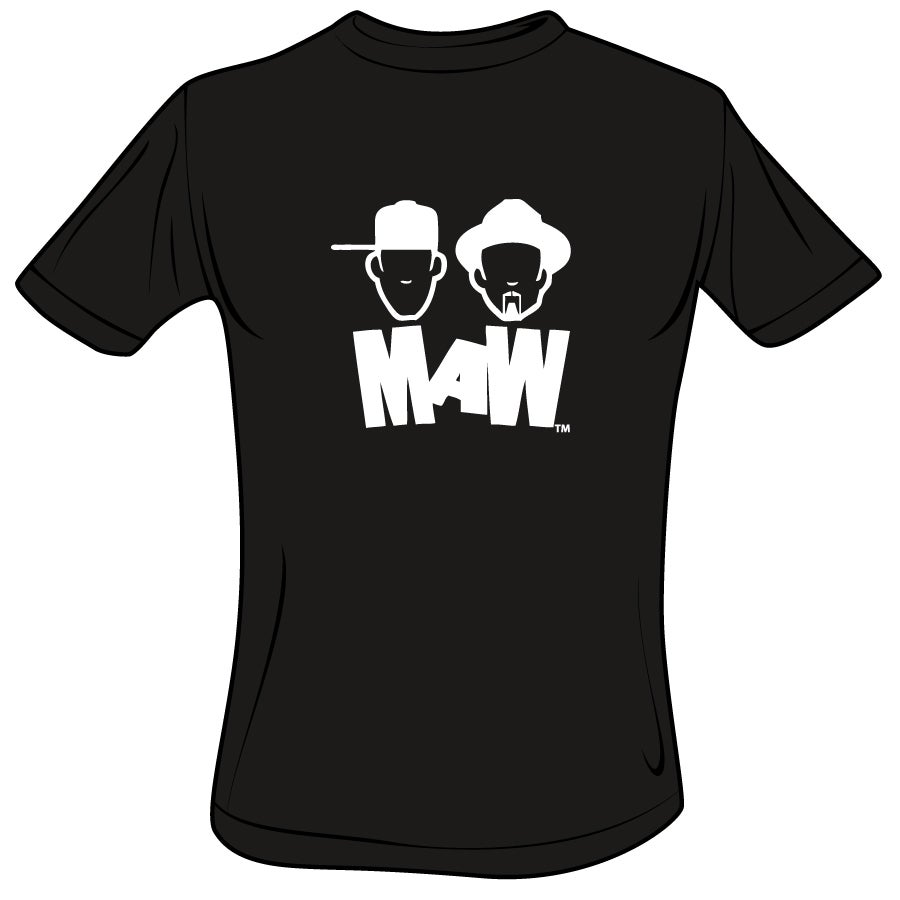 Image of MEN'S-MAW CREW NECK WHITE ON BLACK