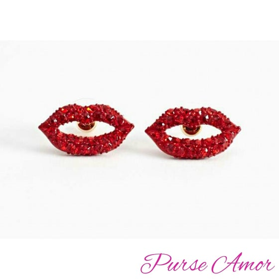 Image of Disco Red Lips Earrings