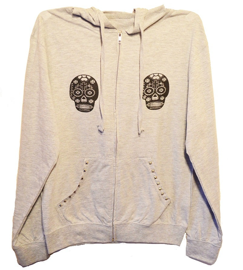 Image of Studded Sugar Skulls Zip Up Beach Hoodie