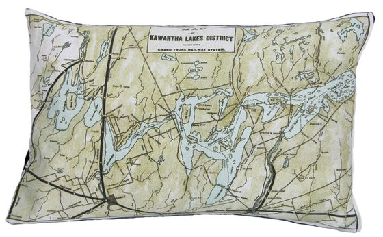 Image of Kawartha Lakes Vintage Map Pillow