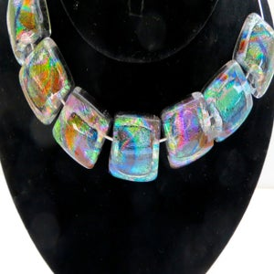 Image of 7 Piece Dichroic Fused Glass Necklace