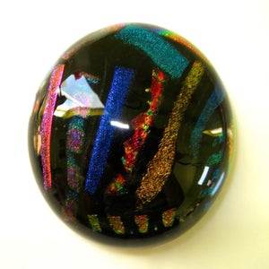 Image of Dichroic Glass Dome Paperweight - Fused Glass