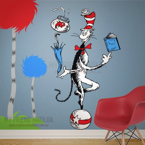 Cat juggling on a ball dr seuss character removable for Dr seuss wall mural