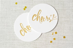 "Image of ""Cheers!"" Gold Letterpress Coaster Set"