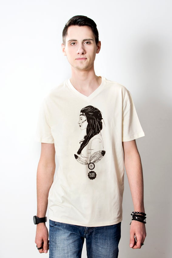 Image of Indienne - Tee-shirt col V homme