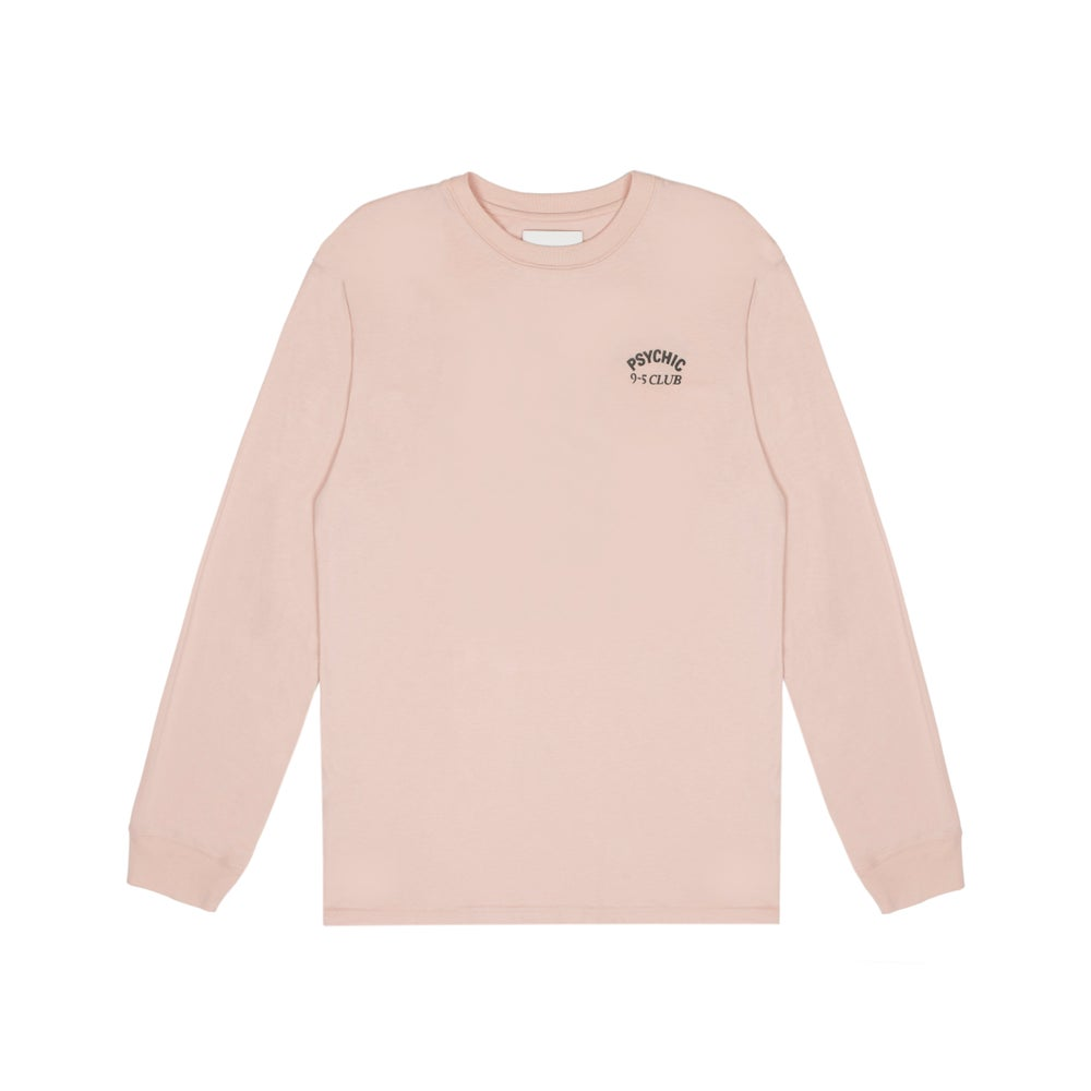 Image of Psychic 9-5 Club L/S T-shirt - Peach with Black Print