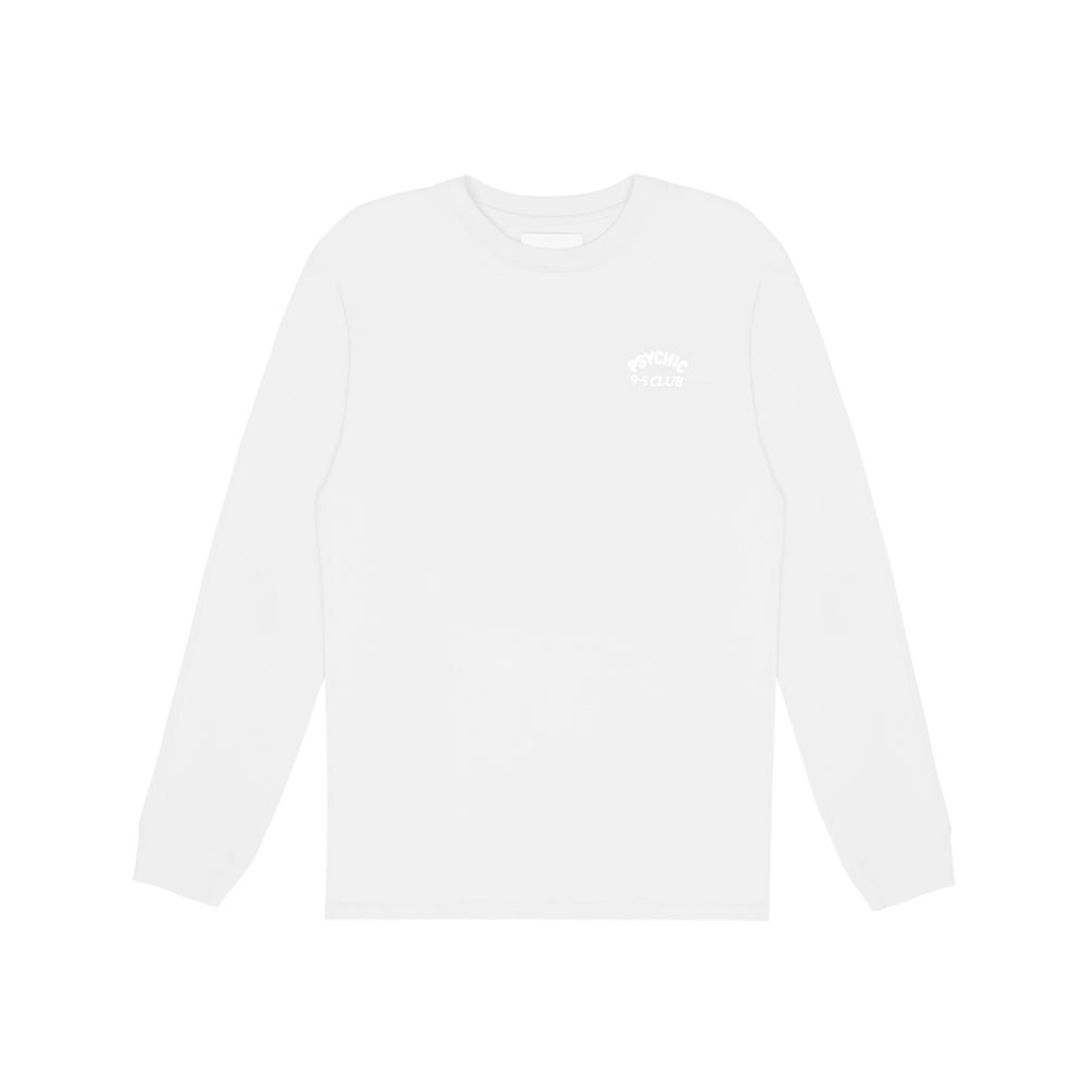 Image of Psychic 9-5 Club L/S T-shirt - White on White Print