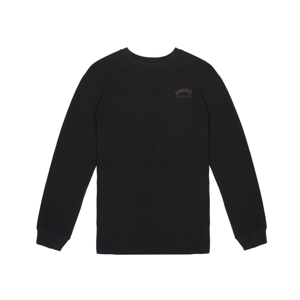Image of Psychic 9-5 Club L/S T-shirt - Black with Blood Print