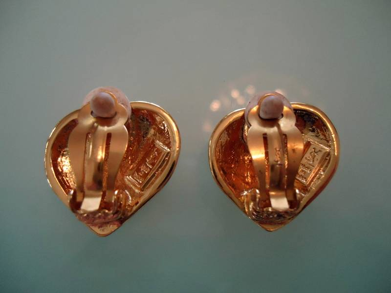 Image of SOLD OUT YSL Yves Saint Laurent Heart Chunky Earrings