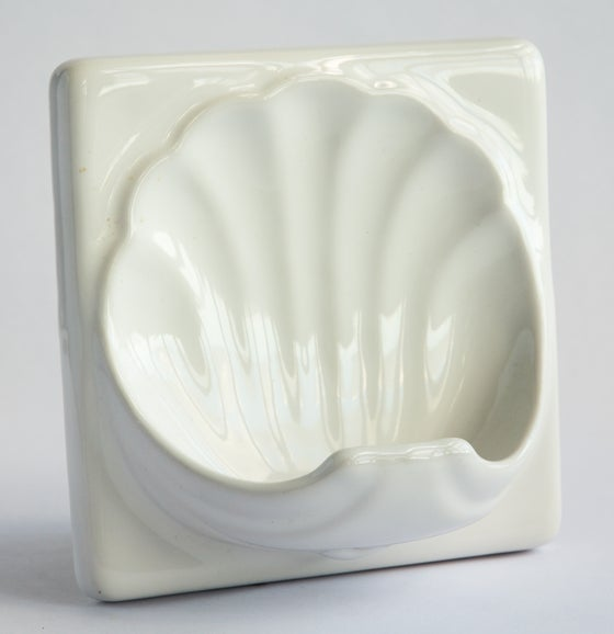 Image of Art Deco Soap Dish Tile - White
