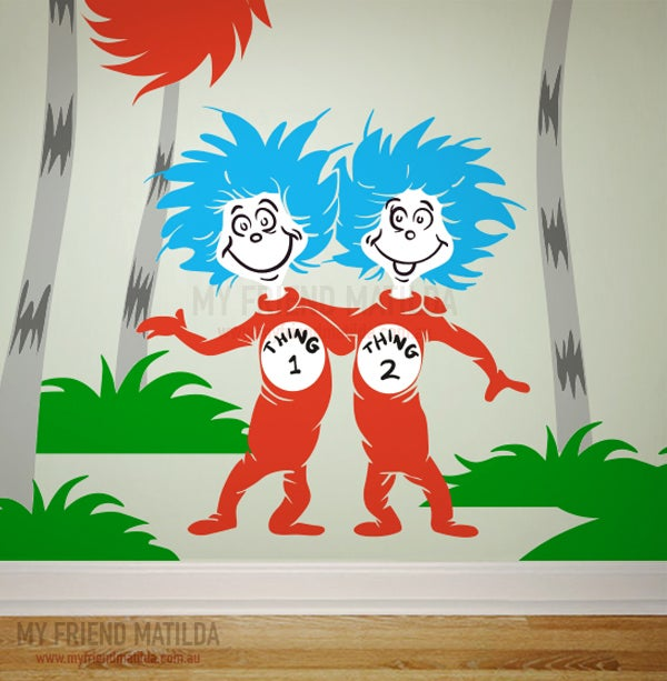 Dr Seuss Wall Decal Sticker   Thing 1 Thing 2 Part 61