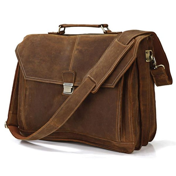 "Image of Men's Handmade Vintage Leather Briefcase Messenger 15"" 17"" MacBook / 15"" 16"" Laptop Bag (n65)"