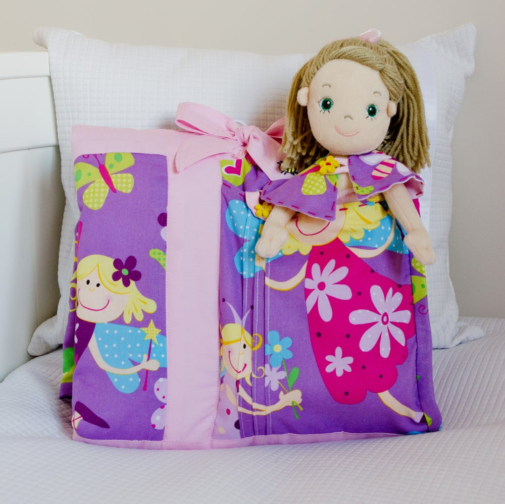 Image of Tia Patchwork Quilt with Tia rag doll.