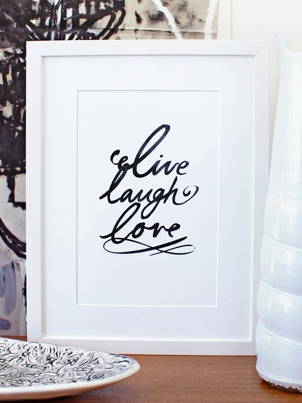 Image of Live laugh love art print - Black