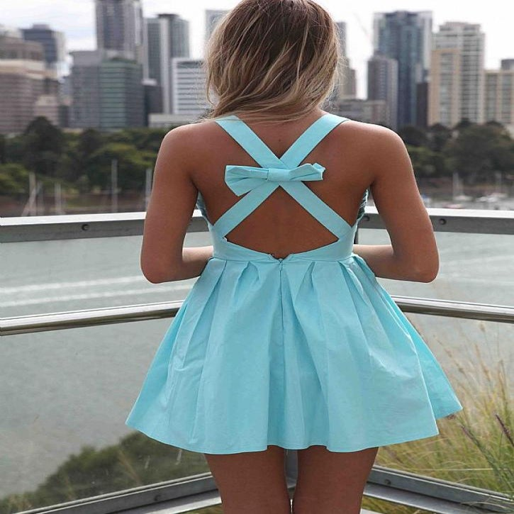 Light Blue Cross Bow Back Dress / Bows and Strings