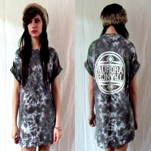 Image of Grey crystallized tie dye t-shirt