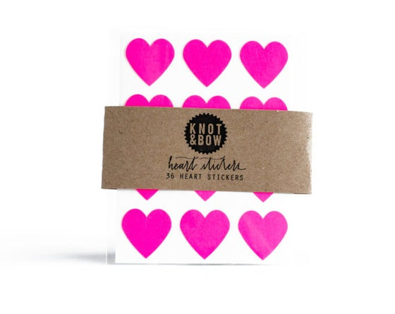 Image of 36 Neon Pink Heart Stickers