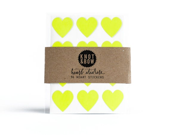Image of 36 Neon Yellow Heart Stickers