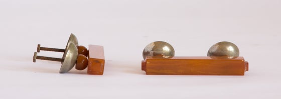 Image of Honey Bakelite Art Deco Furniture Handles