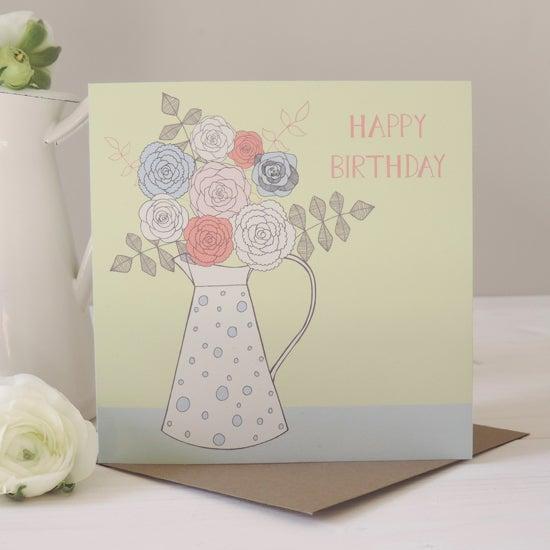 Image of Amelia 'Happy Birthday Floral Jug' Card