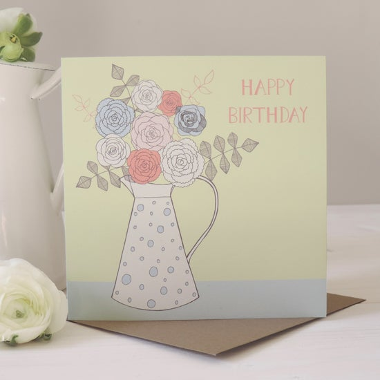 Image of Amelia 'Happy Birthday Floral Jug' Card
