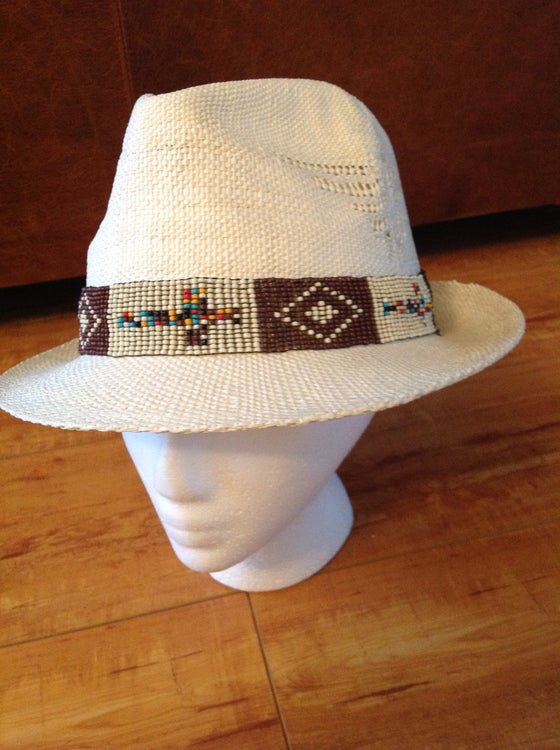 Image of creme fedora with beaded trim