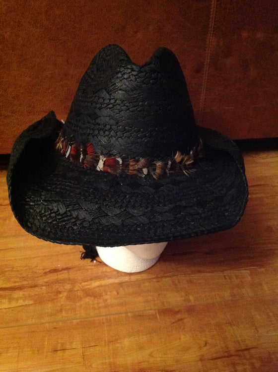 Image of black straw cowboy with mixed feather band