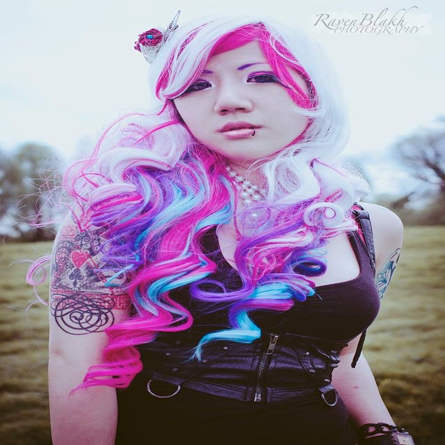 Image of Ribbons, White Pink Blue Purple Curls Waves Gothic Lolita Cosplay Wig