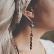 Image of Kai - Long Tribal Bronze Leaf Earrings