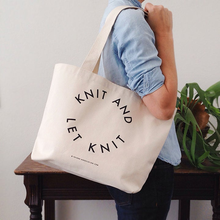 "Image of ""Knit and let knit"" tote"