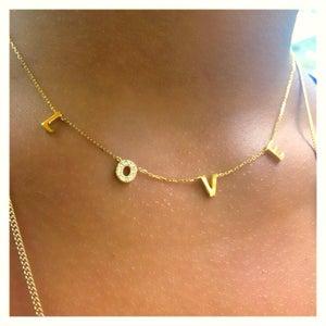 Image of L O V E gold filled necklace