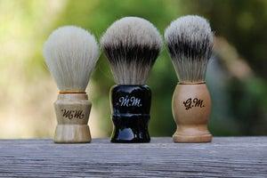 Image of Personalized Men's Wood Shaving Brush - Faux Silvertip Badger