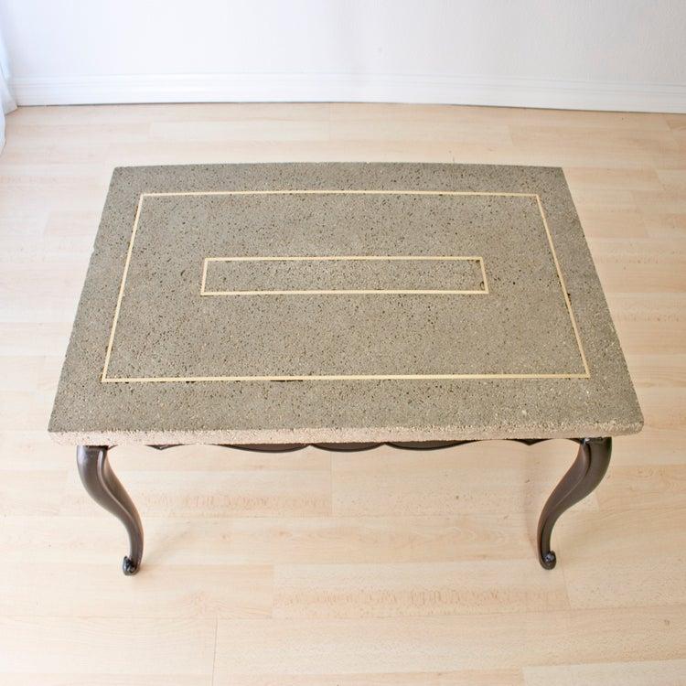 Concrete + Brass Coffee Table W/ Cabriole Legs / Dominique