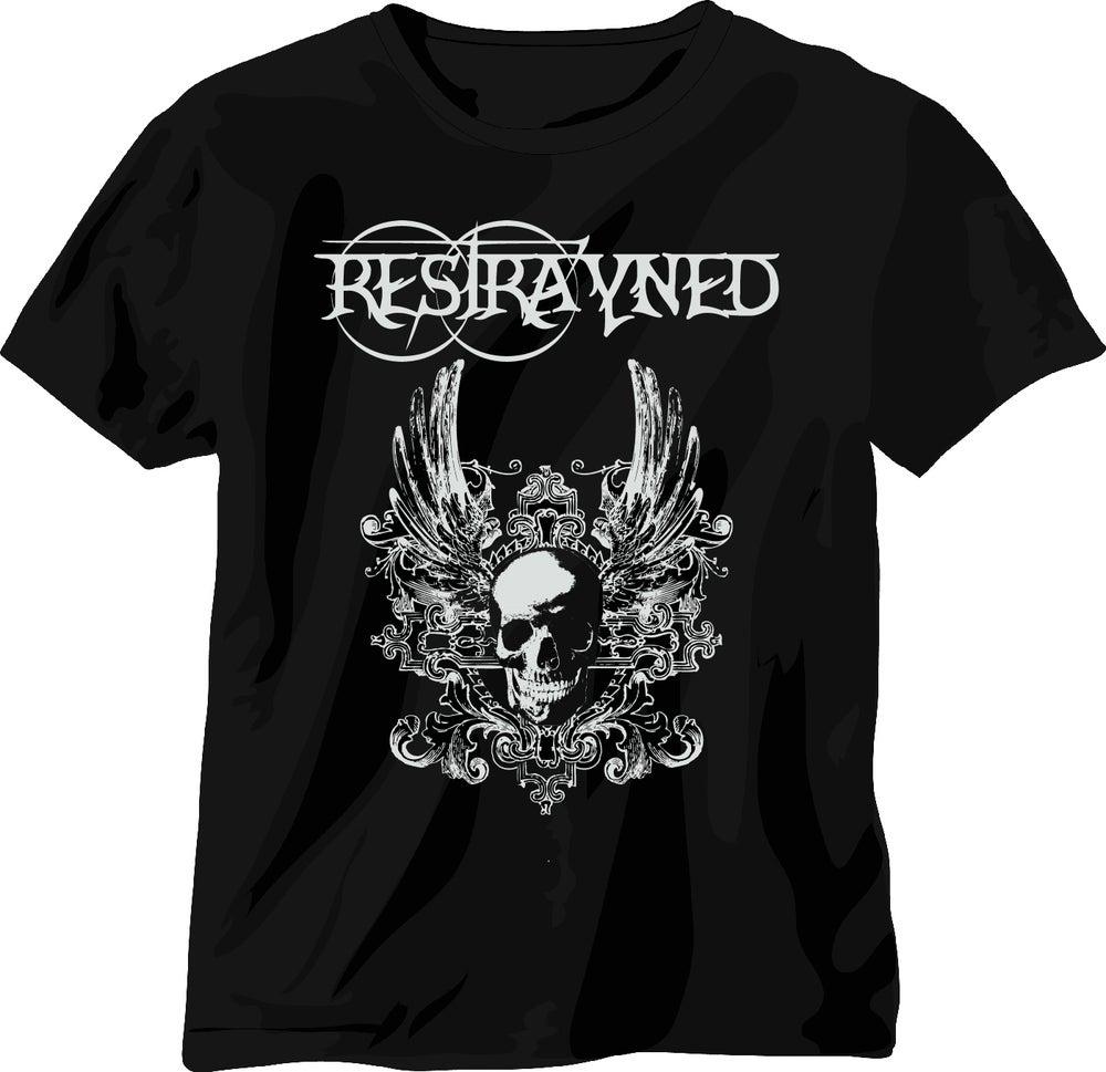 Image of Men's T-Shirt - Restrayned Skull & Wings 2 Logo