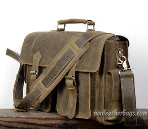 """Image of Vintage Handmade Crazy Horse Leather Briefcase / Messenger / 13"""" Laptop or 13"""" MacBook Bag (n23-2)"""