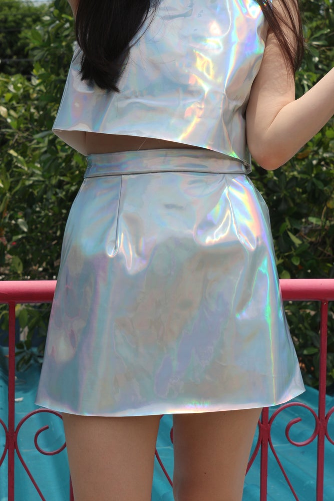 Image of Made To Order - Holographic Mini Skirt