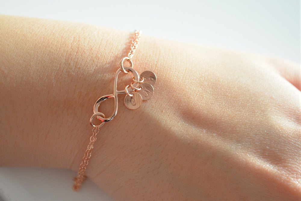 Image of Rose Gold Personalized Infinity Bracelet , Pink Gold Infinity Bracelet
