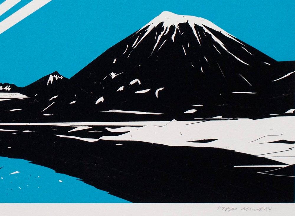 Image of 'Yeti Over Mount Fuji II (Shooting Star)' Screenprint FEW REMAINING