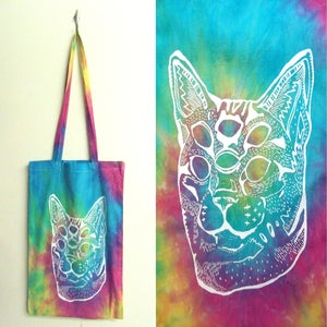 Image of Spiral trans-dimensional acid cat tie dye tote bags
