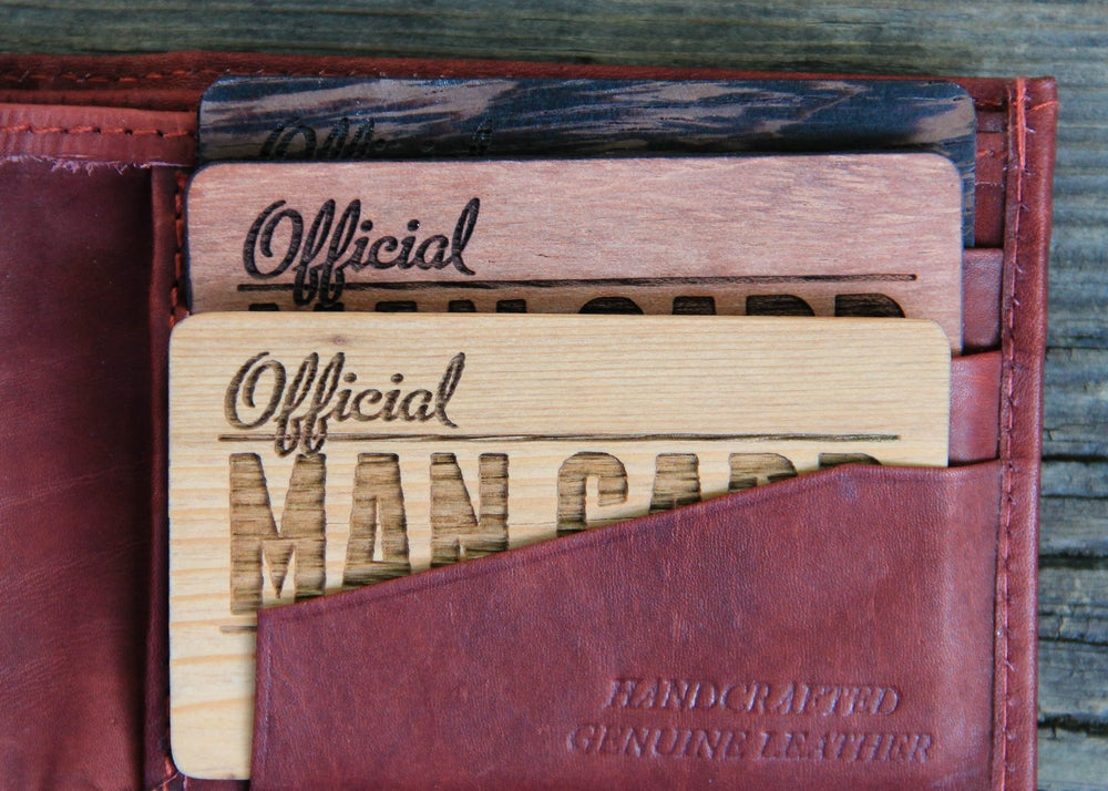 Image of Handmade Personalized Real Wood Man Card