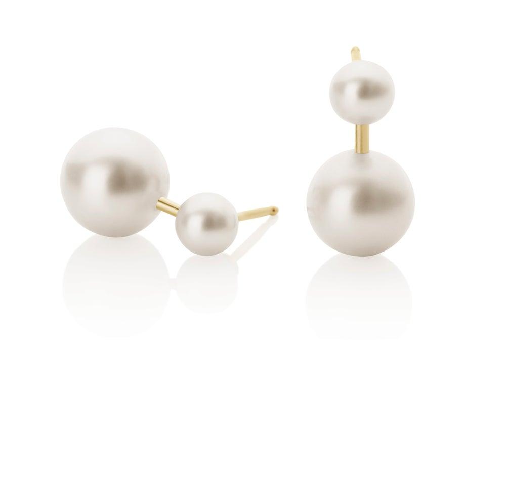 Image of Earrings w Double Pearl
