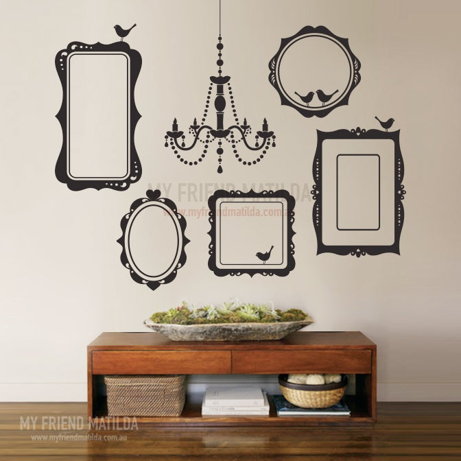 Ordinaire Vinyl Wall Sticker Decal Art   Collection Of Picture Frames And Chandelier